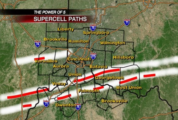 The areas in red are where the tornadoes are confirmed to have touched down. Photo courtesy of WLWT, Channel 5 in Cincinnati.